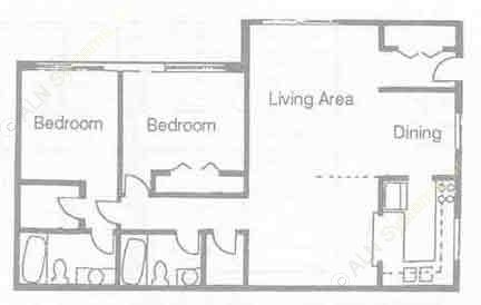 1,185 sq. ft. B-11 floor plan