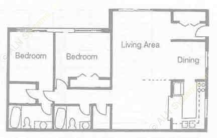 1,185 sq. ft. B-11 floor plan