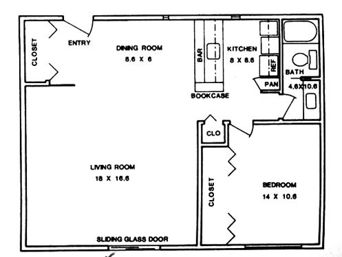 796 sq. ft. ABP floor plan