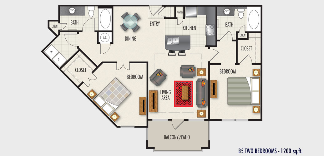1,200 sq. ft. to 1,310 sq. ft. B5 floor plan