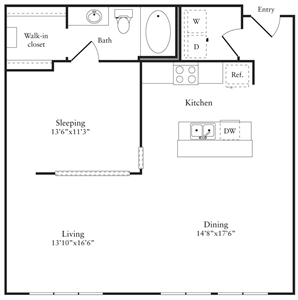 981 sq. ft. J floor plan