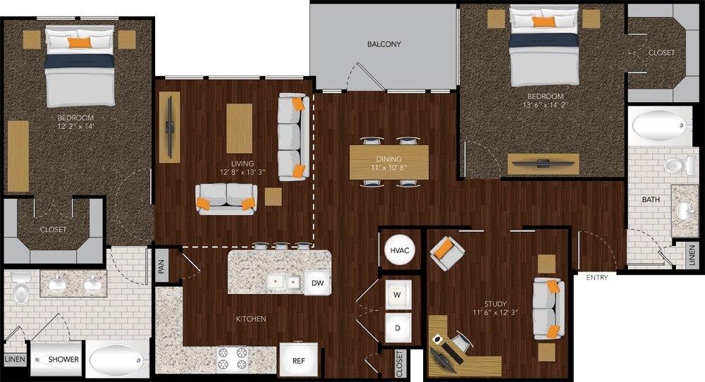 1,405 sq. ft. B4 floor plan