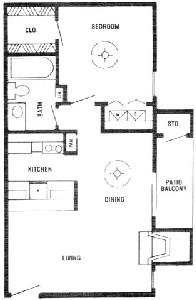652 sq. ft. C floor plan