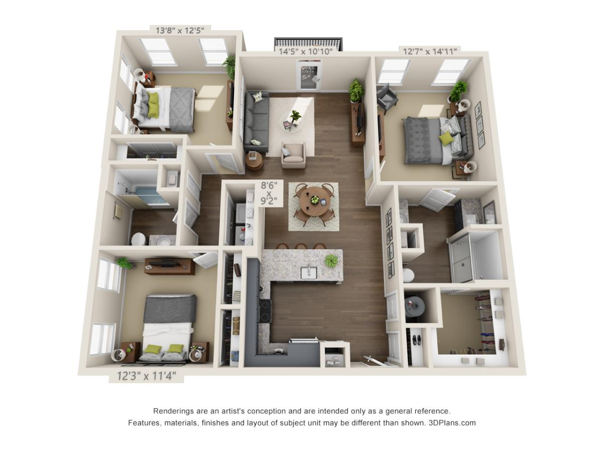 1,387 sq. ft. C1A floor plan