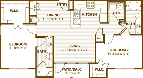 1,013 sq. ft. 2B 50% floor plan
