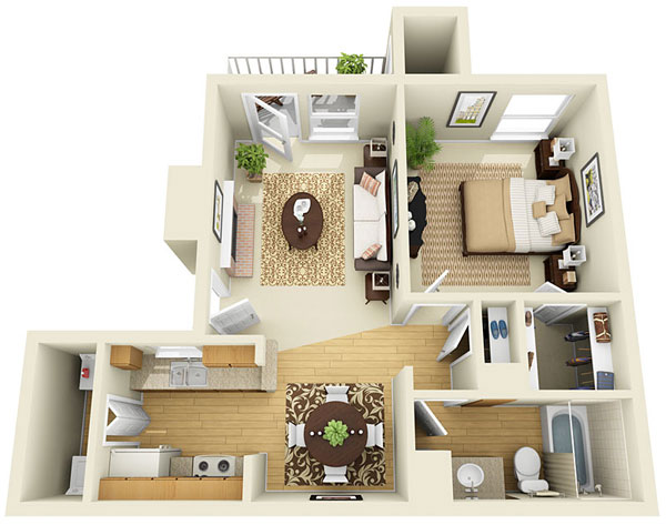 639 sq. ft. B floor plan