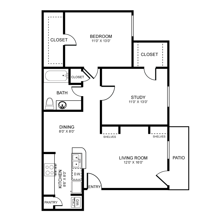 875 sq. ft. floor plan