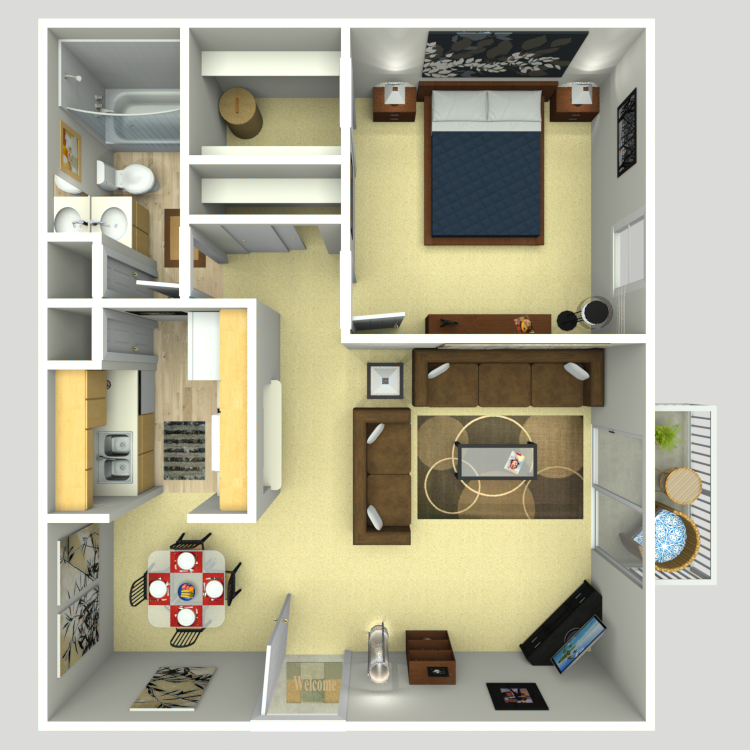 667 sq. ft. A-2A floor plan