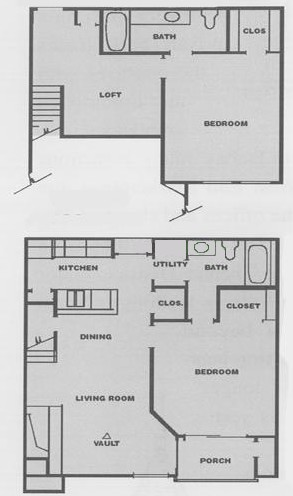 1,090 sq. ft. E1 floor plan
