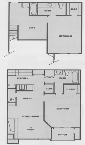 1,090 sq. ft. E1 floor plan