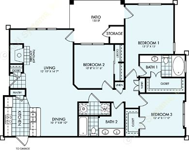 1,391 sq. ft. C1L floor plan