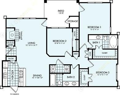 1,391 sq. ft. C1L floor plan