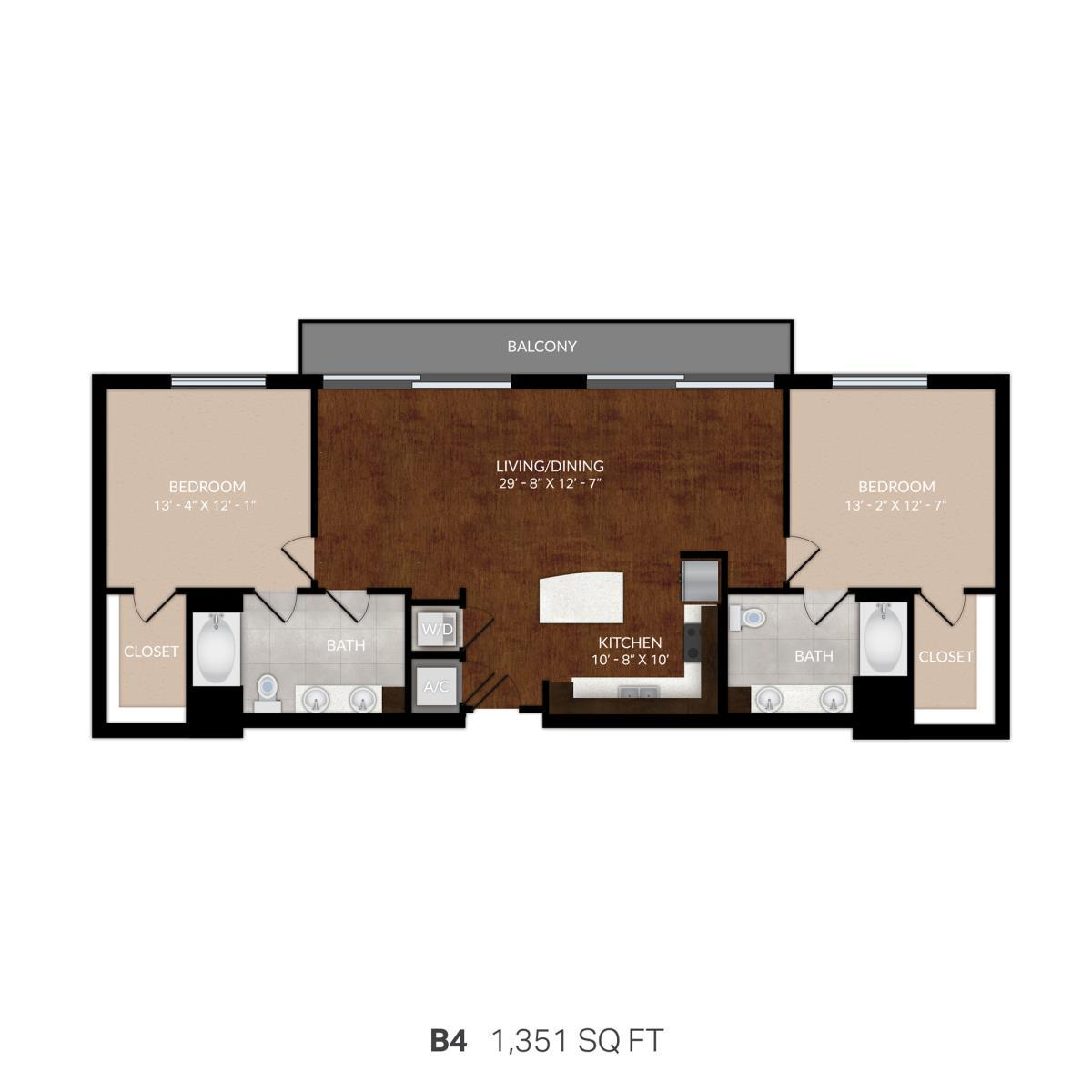 1,292 sq. ft. B4 floor plan