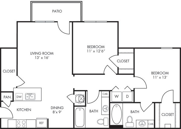 1,120 sq. ft. Mosaic floor plan
