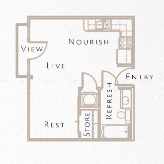 392 sq. ft. E1 floor plan