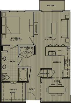 941 sq. ft. A7 floor plan