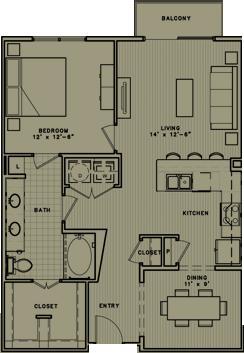 941 sq. ft. A7 floor plan