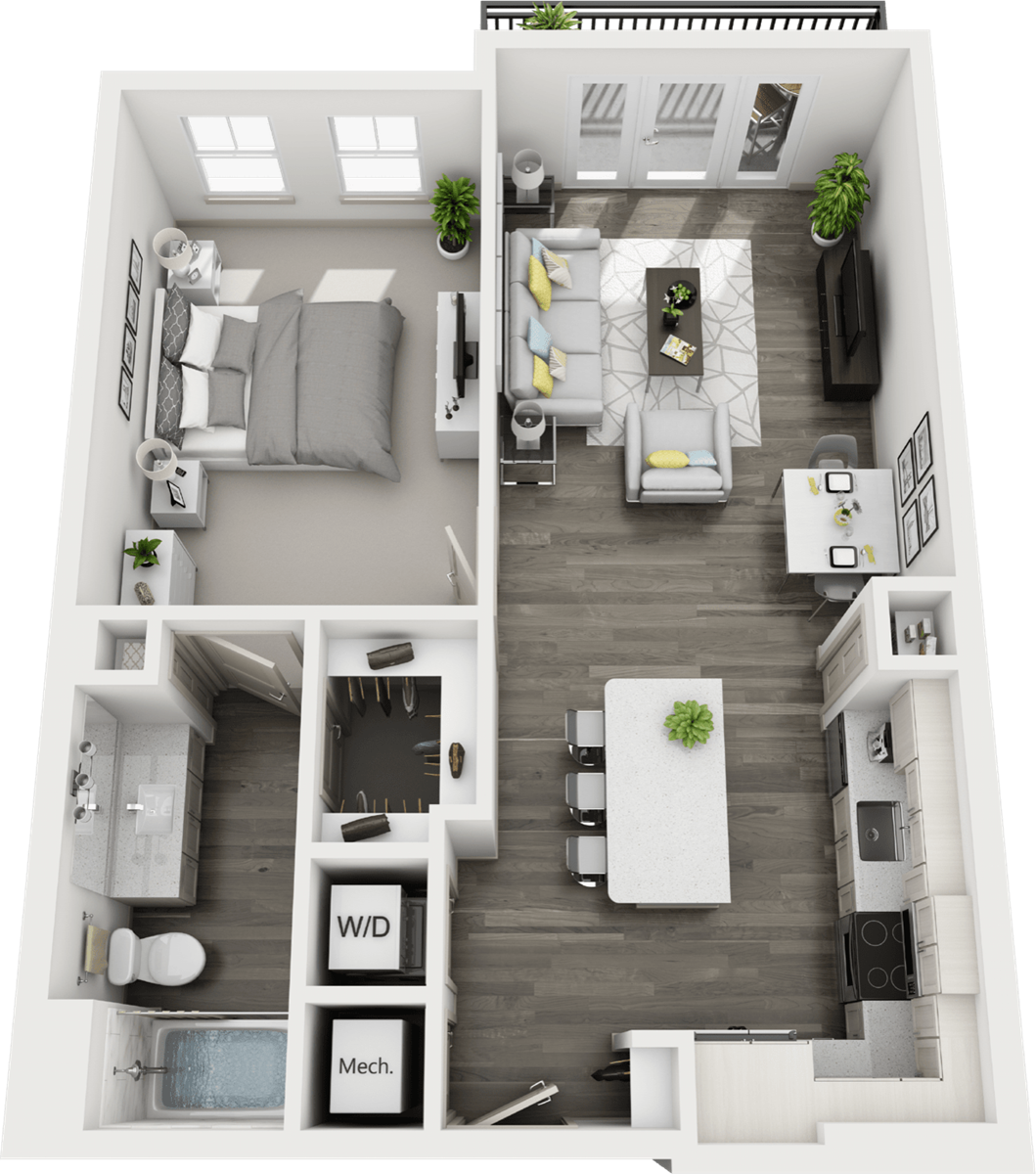700 sq. ft. to 795 sq. ft. A1 floor plan