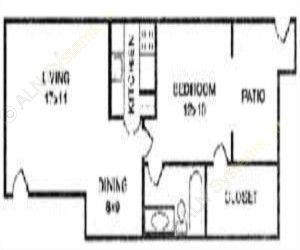 625 sq. ft. BERSHIRE floor plan