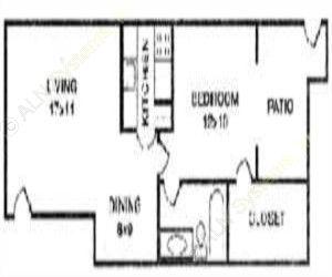 625 sq. ft. BERSHIRE floor plan