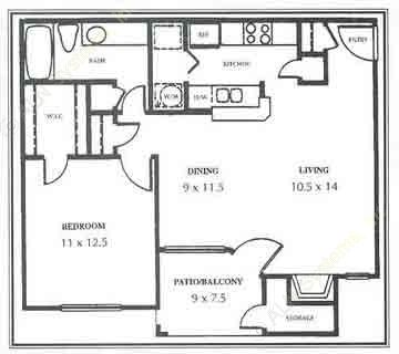 722 sq. ft. B floor plan