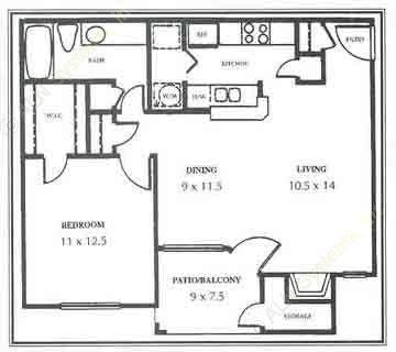 722 sq. ft. B floor plan