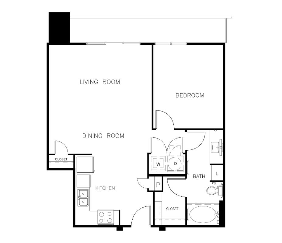 786 sq. ft. A1C floor plan