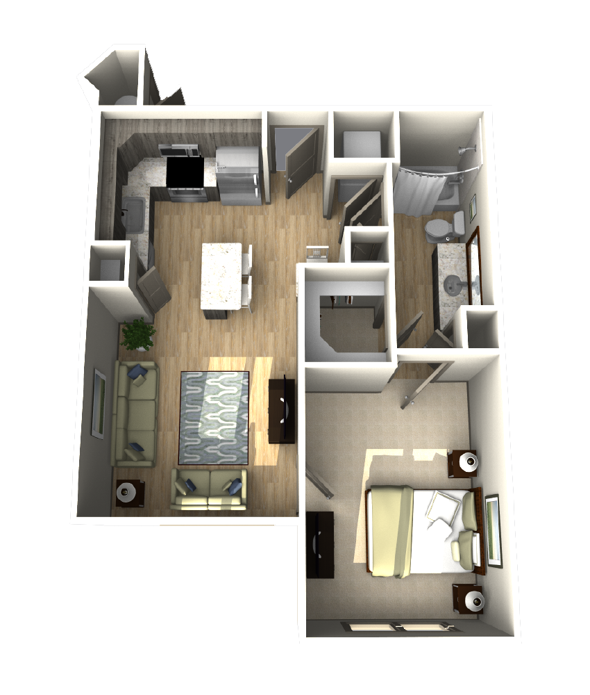 662 sq. ft. A2 floor plan