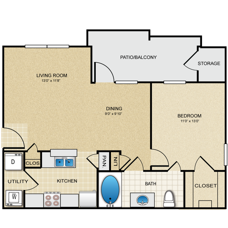 725 sq. ft. Melrose floor plan