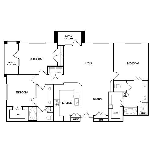 1,591 sq. ft. C1 floor plan