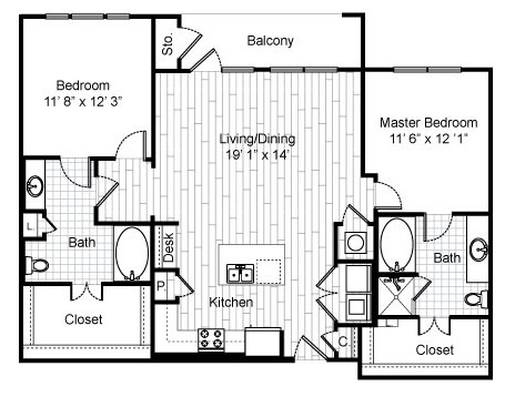 1,270 sq. ft. C6 floor plan