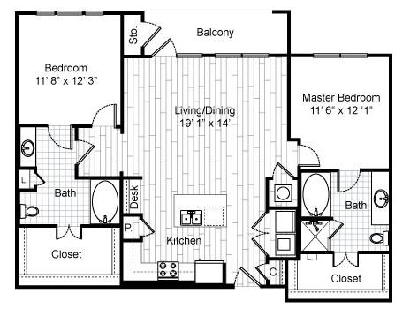 1,270 sq. ft. C6 floor plan