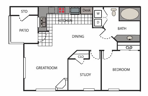 750 sq. ft. Mercer floor plan