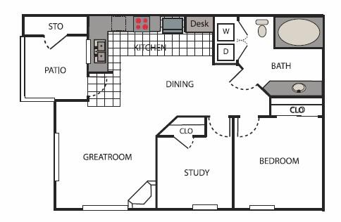 750 sq. ft. Mercer floor plan