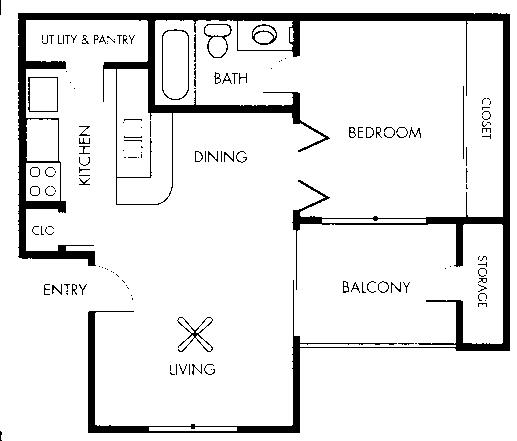 504 sq. ft. Picasso floor plan