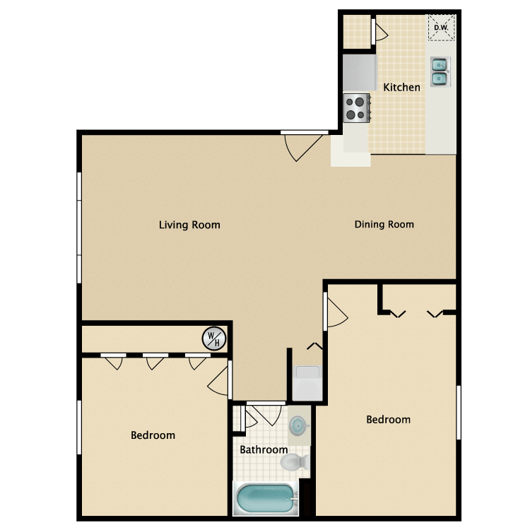 932 sq. ft. floor plan