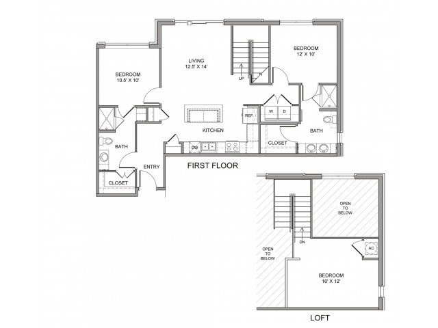 1,144 sq. ft. Ross floor plan
