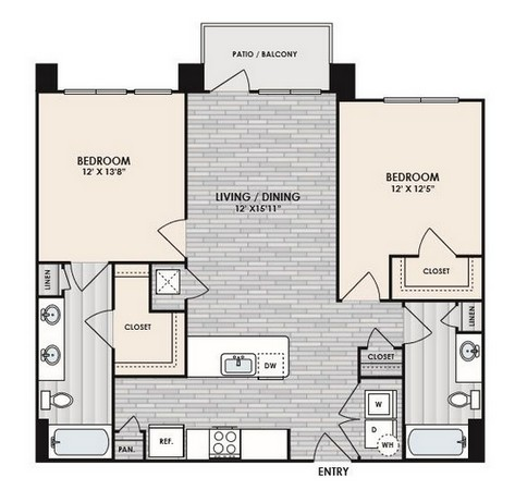 1,147 sq. ft. to 1,241 sq. ft. B2 floor plan