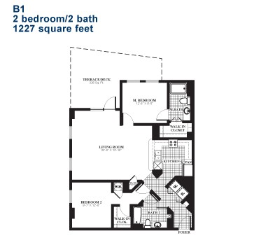 1,227 sq. ft. B1 floor plan