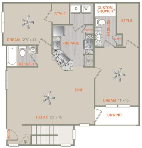 1,244 sq. ft. B1UA floor plan