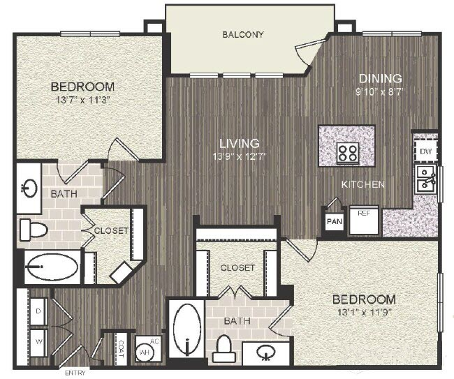 1,093 sq. ft. B6 floor plan