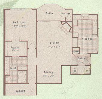 978 sq. ft. A3 floor plan