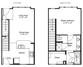 824 sq. ft. to 1,075 sq. ft. 5THA6.1 floor plan
