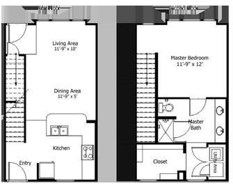 824 sq. ft. to 1,075 sq. ft. 5THA6.1 floor plan