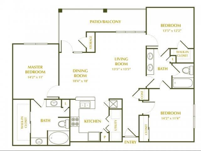 1,325 sq. ft. MAGNOLIA floor plan