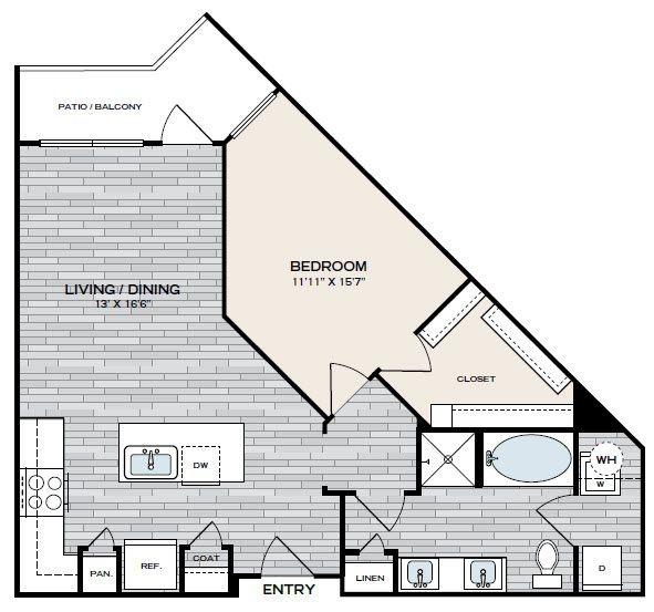 820 sq. ft. A4 floor plan