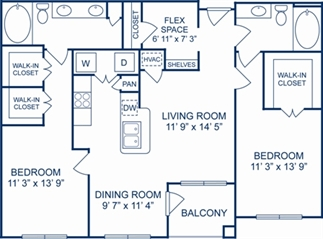 1,214 sq. ft. Valencia floor plan