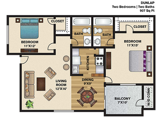 907 sq. ft. D floor plan