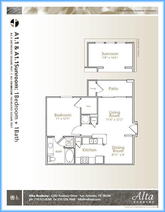 640 sq. ft. A1.1 floor plan