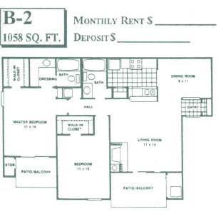 1,058 sq. ft. B2 floor plan